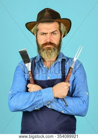 Serious Cowboy. Who Cook Better. Ultimate Cooking Challenge. Prepare Dinner For Family. Cooking Uten