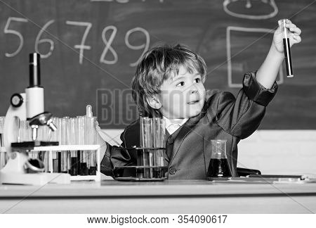 Kid Study Biology Chemistry. Boy Microscope And Test Tubes School. Basic Knowledge Primary School Ed
