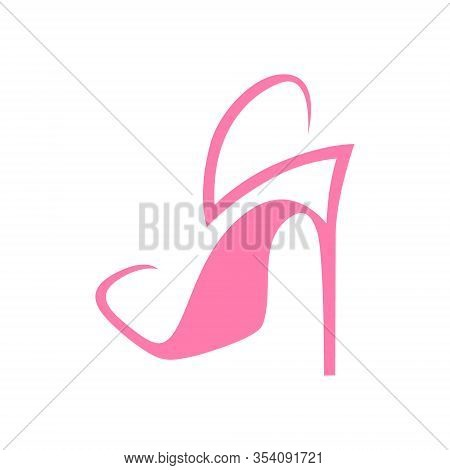 Abstract Pink High Heel Shoe On White Backdrop. Design Element