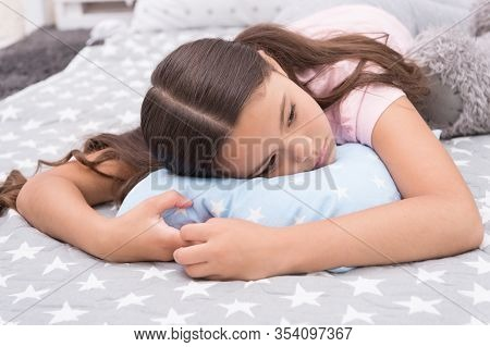 Sleepy Beauty. Sleepy Baby. Small Girl Relax In Bed. Little Child With Sleepy Look. Early Morning Or