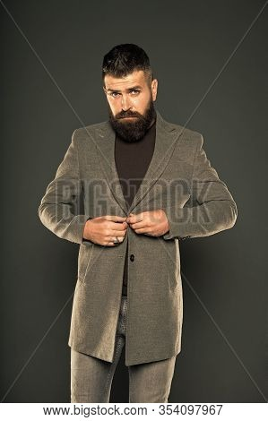 Classy But Modern. Fashion Outfit. Masculine Look. Brutal Hipster Man. Hipster Wearing Casual Clothe