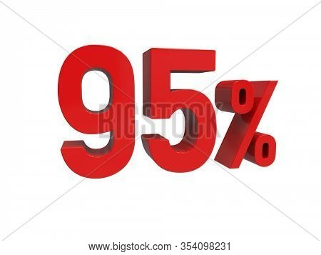 3d Render: ISOLATED Red 95% Percent Discount 3d Sign on Light Background, Special Offer 95% Discount Tag, Sale Up to 95 Percent Off, Ninety-five Percent Letters Sale Symbol, Special Offer Label