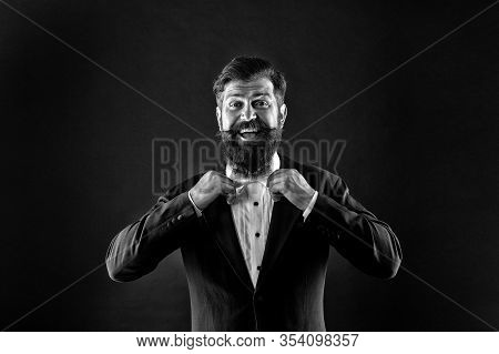 Classic And Fashionable. Happy Groom Fix Fashionable Bow Tie. Bearded Man In Fashionable Prom Style.