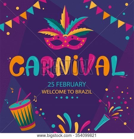 Carnival Poster Design With Dark Geometric Background. Rio Carnival Colorful Inscription With Mask,