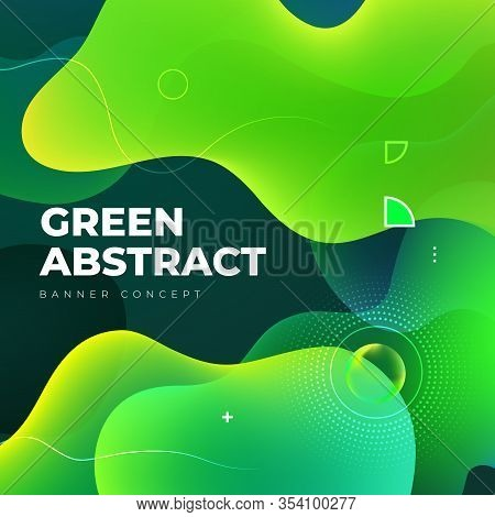 Liquid Color Background Design. Green Eco Fluid Gradient Shapes Composition. Futuristic Design Poste