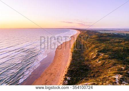 Scenic Aerial Landscape Of Venus Bay Ocean Coast At Sunset In Australia