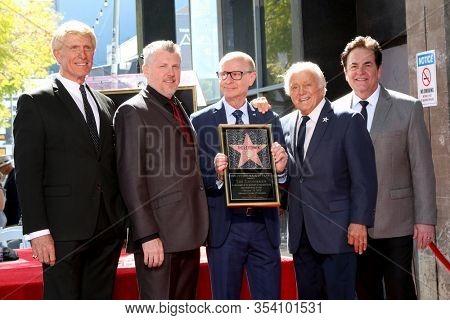 LOS ANGELES - FEB 24:  Donovan Tea, Rob Gulack, David Haskell, Tony Butala, Bobby Poynton at the The Lettermen Star Ceremony on the Hollywood Walk of Fame on February 24, 2019 in Los Angeles, CA