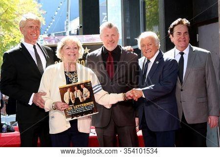 LOS ANGELES - FEB 24:  Donovan Tea, Sue Pike, Rob Gulack, Tony Butala, Bobby Poynton at the The Lettermen Star Ceremony on the Hollywood Walk of Fame on February 24, 2019 in Los Angeles, CA