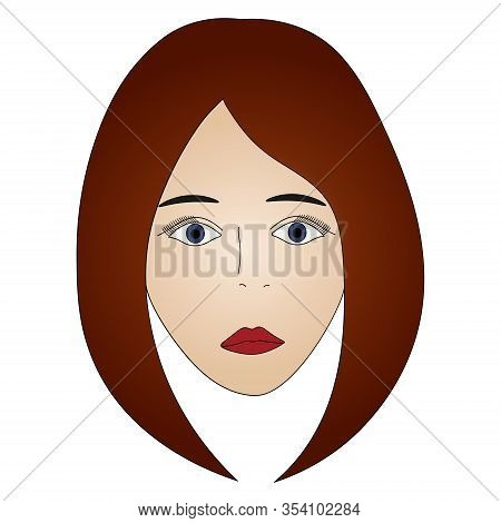 Color Vector Illustration Of A Brunette Girl's Face With Blue Eyes. Full Face. Long Lashes. Black Ey