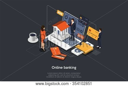 Isometric Online Banking Concept. People Are Paying By Card And Make Bank Transfer. Internet Shoppin