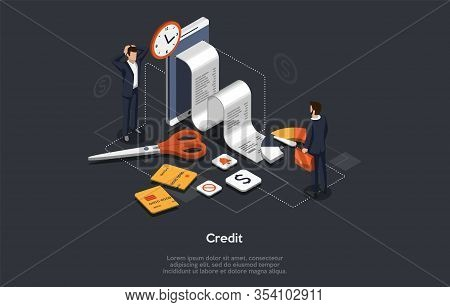Isometric Bank Credit Concept. People Take Out A Loan. Financial Collapse. Bank Manager Check Custom