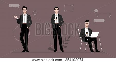 Businessman And Self Employment Concept. Self Confident Young Businessman In Different Poses And Sit
