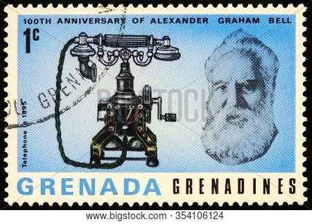 Moscow, Russia - March 02, 2020: Stamp Printed In Grenada, Shows Alexander Graham Bell (1847-1922),