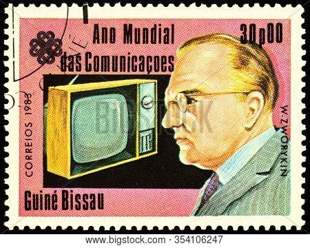 Moscow, Russia - March 04, 2020: Stamp Printed In Guinea-bissau, Shows Vladimir Zworykin (1888-1982)