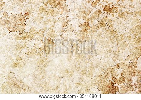 Coffee Stains Background. Brown Splash Texture. Brown Antique Rustic Stained Paper Backdrop. Grunge