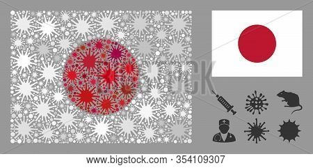 Coronavirus Mosaic And Flat Japan Flag. Mosaic Vector Is Formed With Japan Flag Pictogram And With R