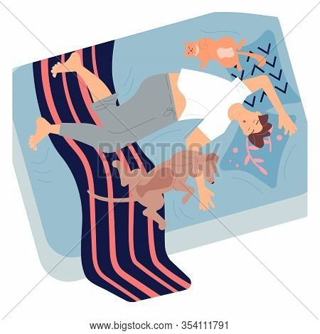 Young Man Character Is Lying On Back Between Pets And Sound Asleep. Guy, Cat And Dog Sleep Deeply On