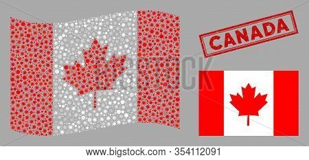 Coronavirus Mosaic Waving And Flat Canada Flag. Mosaic Vector Is Designed With Canada Flag Icon And