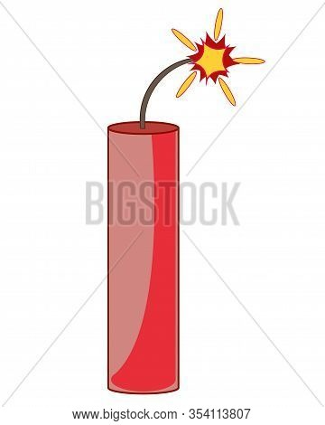 Cartoon Of The Propellent Dynamite With Burning Wick