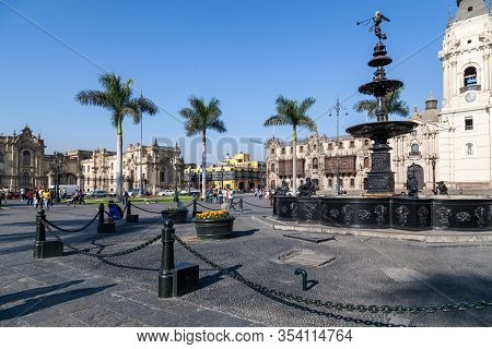 Lima / Peru - May 10 2016: Beautiful Park And Architecture In The Plaza De Armas In Lima, Also Known