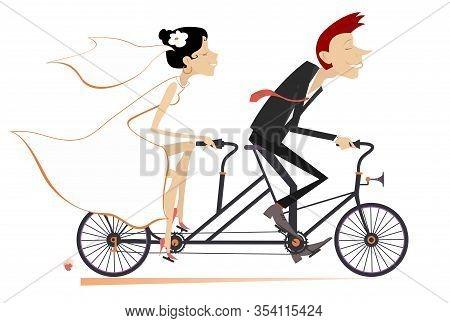 Heterosexual Married Wedding Couple Rides On A Tandem Bike Illustration. Happy Man And Woman In The