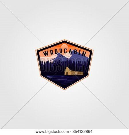 Vintage Cabin Adventure Logo Vector Illustration Design