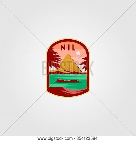 Nile River Logo Pyramid Vector Illustration Design