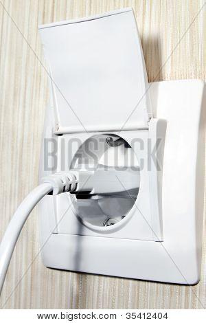 white  socket with fork