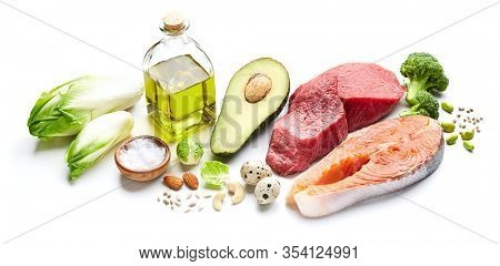 Keto food on white background. Keto concept