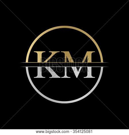 Initial Km Letter Logo Design Vector Illustration. Abstract Letter Km Logo Design