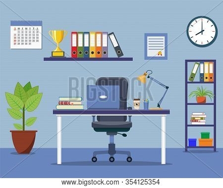Office Interior Concept. Modern Business Workspace With Office Furniture Chair, Desk, Bookcase, Cloc