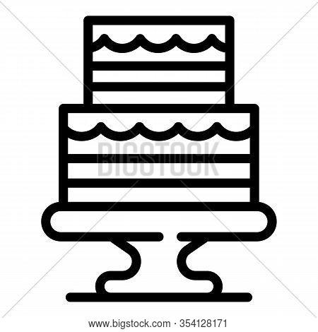 Wedding Ceremony Cake Icon. Outline Wedding Ceremony Cake Vector Icon For Web Design Isolated On Whi