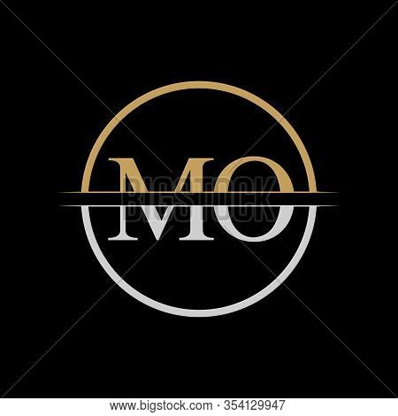 Initial Mo Letter Logo Design Vector Template. Gold And Silver Letter Mo Logo Design