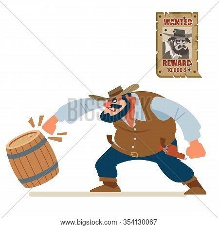 Angry Cowboy Bandit Smash Everything Around. Old Wild West. Cartoon Vector Illustration. Flat Style.