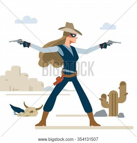 Western Cowgirl With Two Revolvers In A Shootout. Cartoon Vector Illustration. Flat Style. Isolated