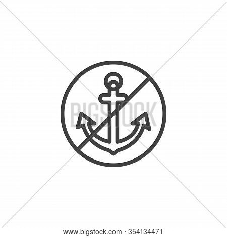 No Anchor Line Icon. Linear Style Sign For Mobile Concept And Web Design. Anchoring Is Crossed Out O