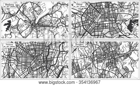 Taichung, Chiayi, Taoyuan and Keelung Taiwan City Map in Black and White Color. Outline Map.