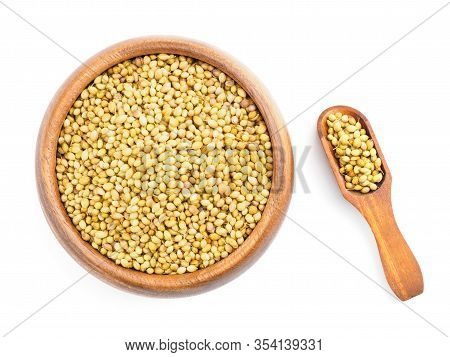 Spice Coriander (coriandrum Sativum) In Wooden Cup And Scoop On White. Diet And Weight Loss Concept