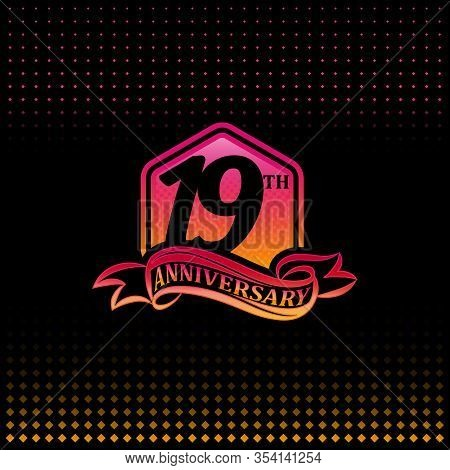 19th Anniversary Celebration Logotype Pink And Yellow Colored.  Nineteen Years Birthday Logo On Blac