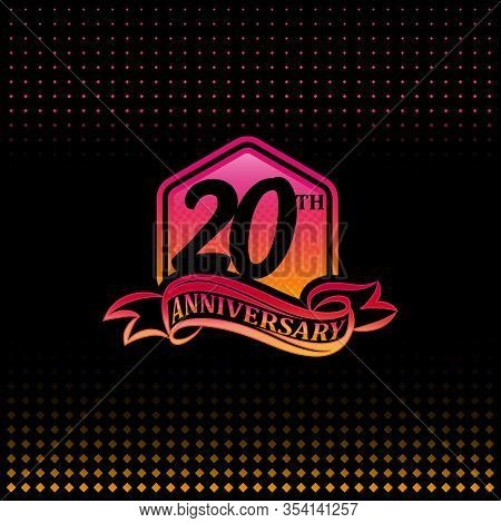 20th Anniversary Celebration Logotype Pink And Yellow Colored.  Twenty Years Birthday Logo On Black