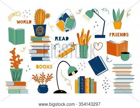Literary Fans. Set Of Different Subjects On The Topic Of Literature And Reading. Books, Textbooks, I