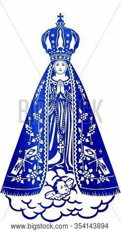 Holy Lady Saint Aparecida Catholic Brazilian Sacred Belief Metallic Blue Illustration