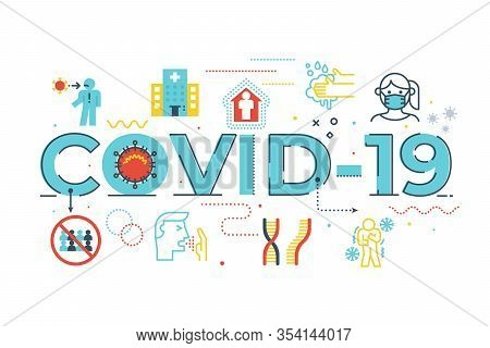 Covid-19 Word Lettering Illustration With Icons For Web Banner, Flyer, Landing Page, Presentation, B