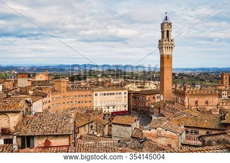 Aerial View Of Piazza Del Campo Home Of Palio Contest In Siena Italy During The Day