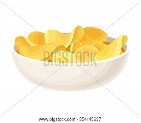 Crunchy Potato Chips In Ceramic Bowl Vector Illustration