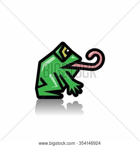 Green Frog As An Icon. Illustration Of A Green Frog As An Icon On A White Background.