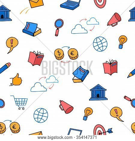 Cute Colored Doodle Seamless Pattern Business, Marketing, E-commerce Set