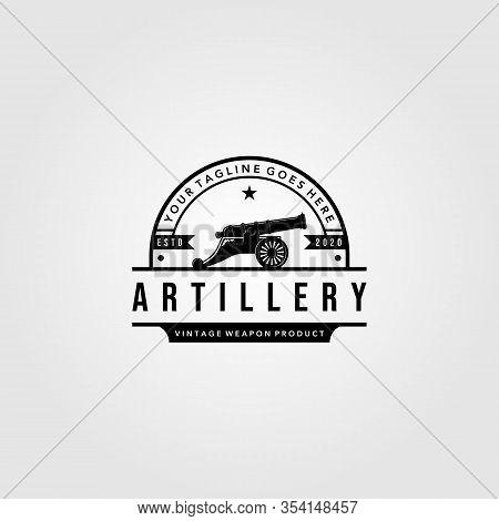 Cannon Artillery Logo Vintage Illustration Design, Cannon Badge Concept Premium Vector
