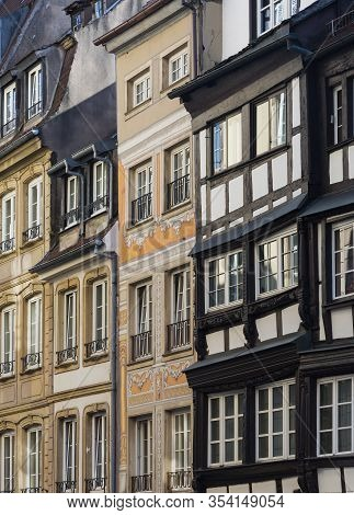 Facade Of Traditional Half-timbered Houses Street In Strasbourg, Alsace, France