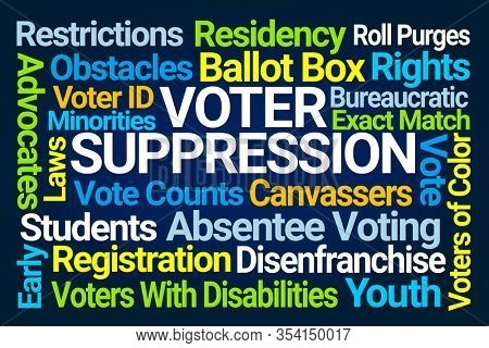 Voter Suppression Word Cloud on Blue Background
